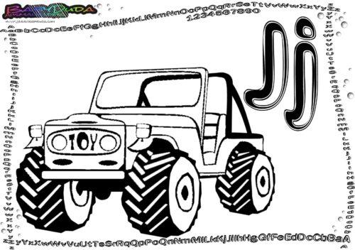 Alphabet Buchstaben coloring ABC J-Jeep