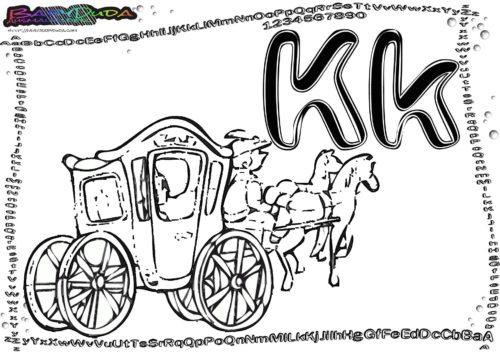 Alphabet coloring ABC Buchstabe K-Kutsche