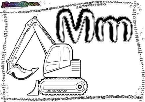 Alphabet Buchstaben Ausmalbild M-Minnibagger