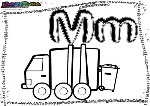 Alphabet Buchstaben Malvorlagen M-Muellwagen
