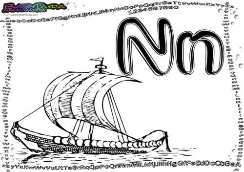 Alphabet Buchstabe zum Ausmalen N-Nordlandboot
