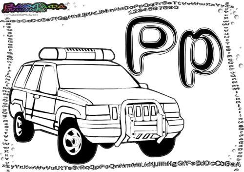 Alphabet-Ausmalbilder Buchstabe P-Polizei