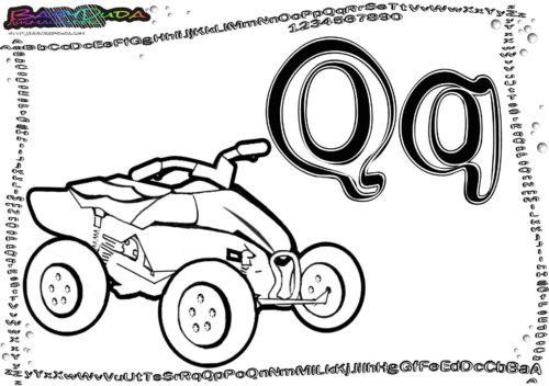 Alphabet-Malbilder Buchstabe Q-Quad