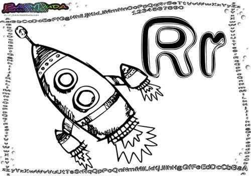 Alphabet-Malvorlagen Buchstabe R-Rakete