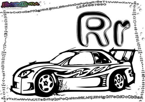 Alphabet-Ausmalvorlage Buchstabe R-Rennwagen