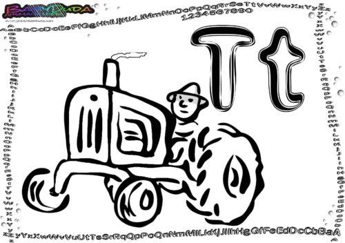 Alphabet ABC-Fahrzeug Buchstabe T-Traktor