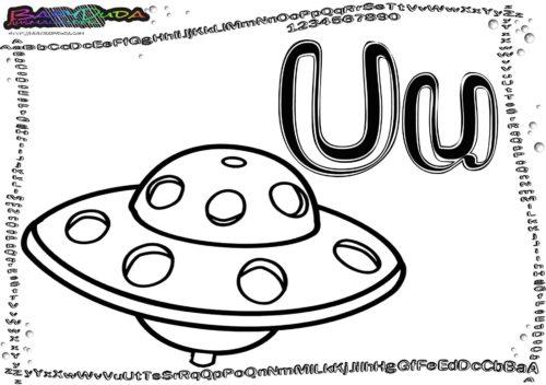 Alphabet Buchstaben U-Ufo
