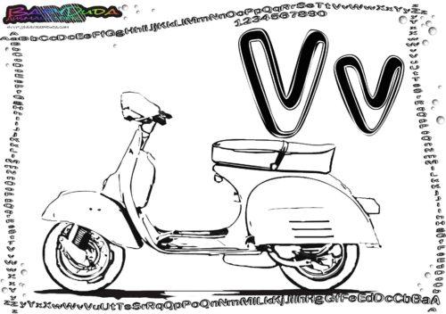 Alphabet Fahrzeugbild Buchstabe V-Vespa