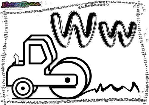 Alphabet Bild Ausmalen Buchstabe W-Walze