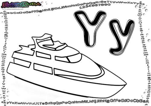 Alphabet Fahrzeugbild Buchstabe Y-Yacht