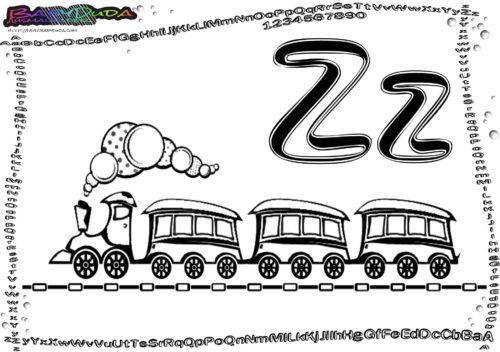Alphabet Fahrzeug-Vorlage Ausmalen Buchstabe Z-Zug