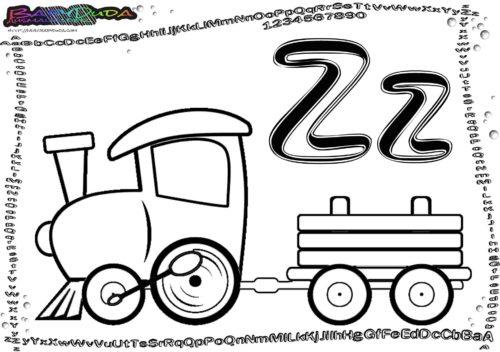 Alphabet Ausmalbilder Buchstabe Z-Zug2