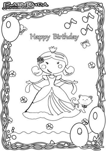 Geburtstag-Ausmalbild-Prinzessin