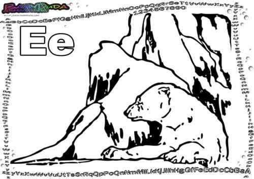 Tier-Alphabet ABC Buchstabe E-Eisbär