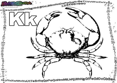 ABC Tiere Ausmalen Buchstabe K-Krabbe