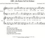 Kinderlied - ABC, die Katze lief im Schnee. Kinderlied kostenlos mit Noten, Test und Musik mp3 gratis zum Download und freier Verfügung. Singen und Musizieren. Gemafrei. Für Kinder, Kita, Schule, Grundschule, Chor