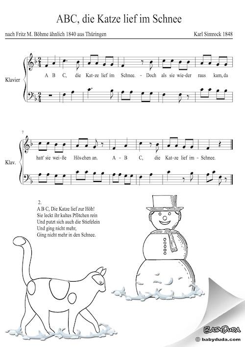 Kinderlied - ABC, die Katze lief im Schnee