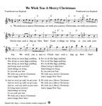 We wish you merry Chrismas - kostenlose Weihnachtslieder. Singen, Anhören und Musizieren zu Hause, im Kindergarten, in der Schule oder im Verein. Initiative Kinder wollen Singen und den Musikpiraten. GEMA frei.