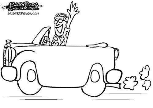 Malvorlage Autofahrt