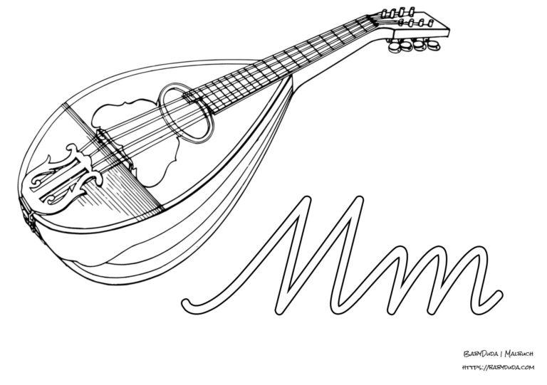 abc ausmalbilder instrumente mit anfangsbuchstaben
