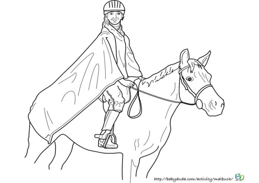 Ausmalbild Pferd und Reiterin