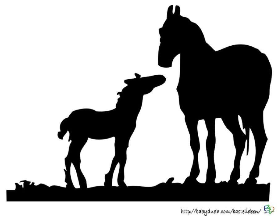 Scherenschnitt pferd einhorn basteln f r kinder - Schattenbilder kinder ...