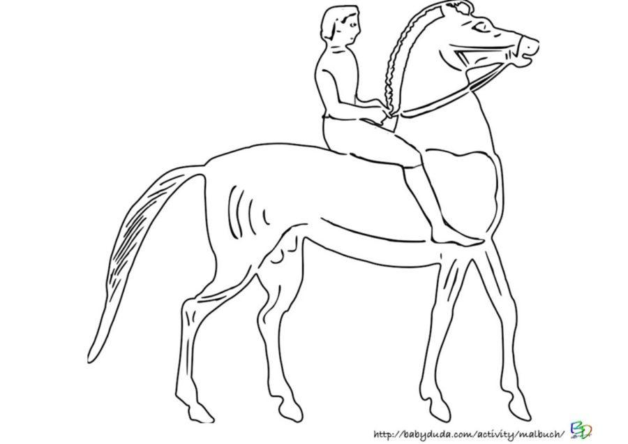 Vorlage Pferd und Junge