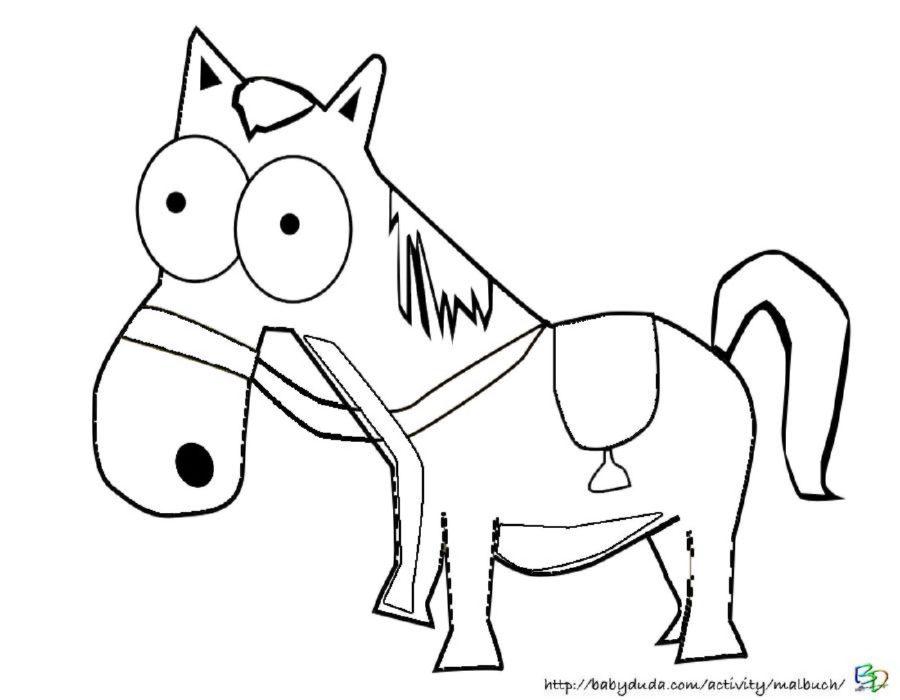 Ausmalbild Lustiges Pferd