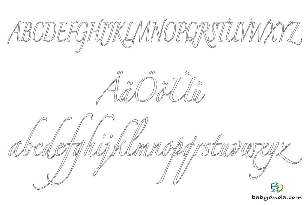 A-Z Alphabet AUSMALEN - Ausmalbild SCHREIBSCHRIFT