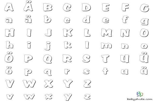 Buchstaben ausmalen: ✎ Alphabet Malvorlagen A-Z   BabyDuda