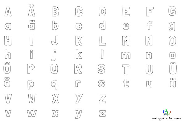 buchstaben ausmalen alphabet malvorlagen a z babyduda. Black Bedroom Furniture Sets. Home Design Ideas
