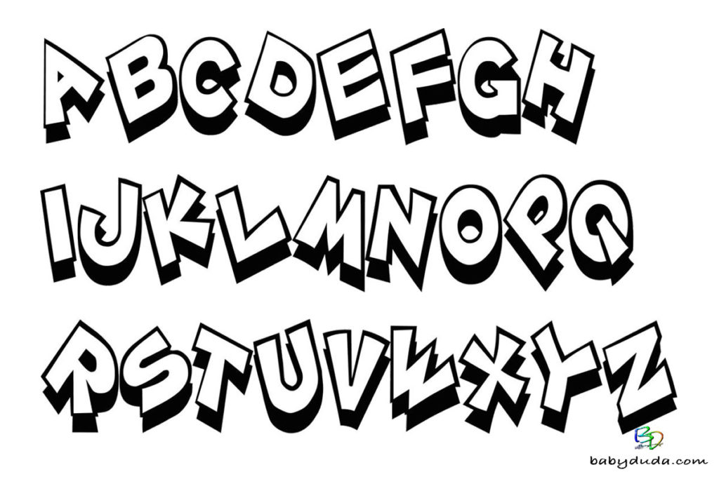 Alphabet Malbild Vorlage - Ausmalbild Buchstaben