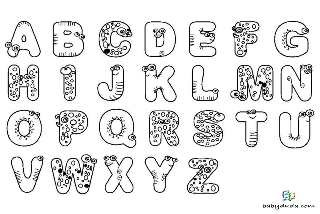 Tier-ABC Vorlage - Ausmalbild Buchstaben