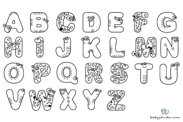 Buchstaben ausmalen: ✎ Alphabet Malvorlagen A-Z | BabyDuda