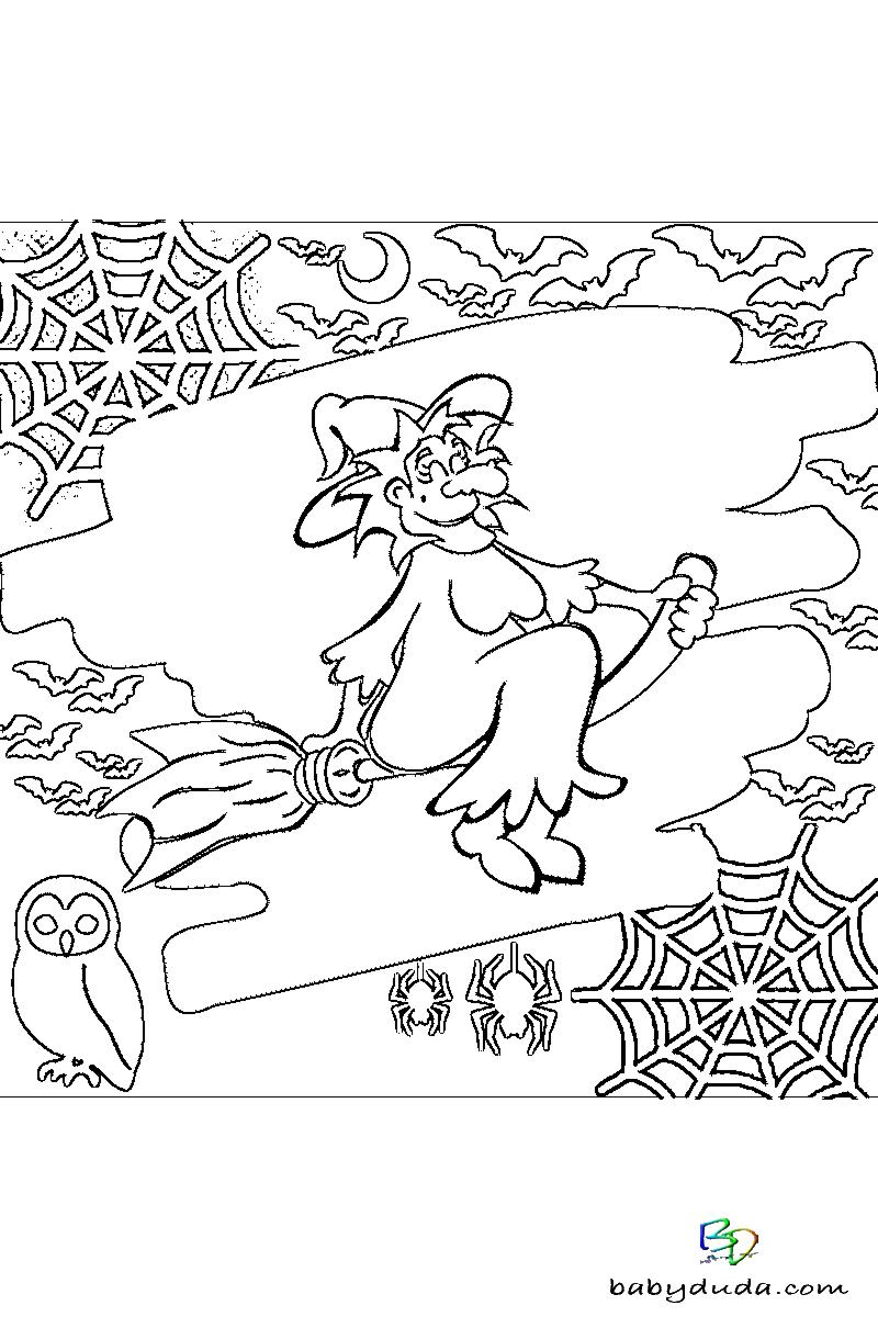 Halloween-Ausmalbild-Walpurgisnacht-Malvorlage