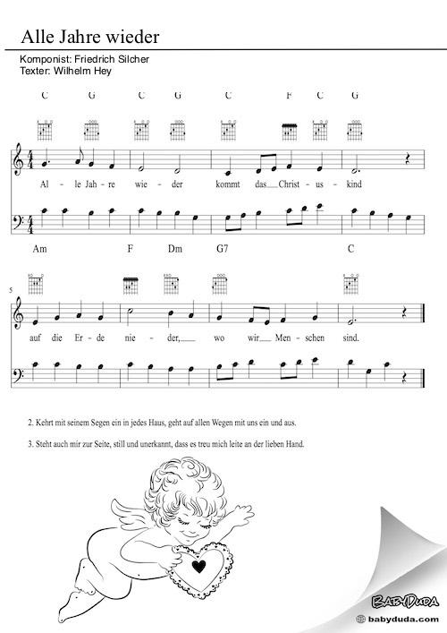 Kinderlied - Alle Jahre wieder (C-Dur)