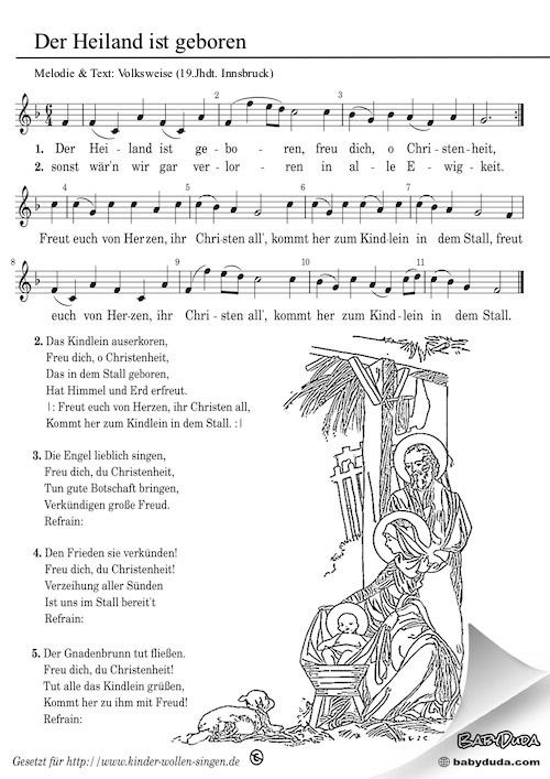 Gute Weihnachtslieder.Der Heiland Ist Geboren Weihnachtslied Babyduda Liederbuch