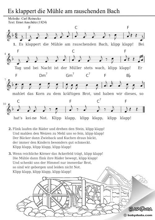Kinderlied - Es klappert die Mühle am laufenden Bach