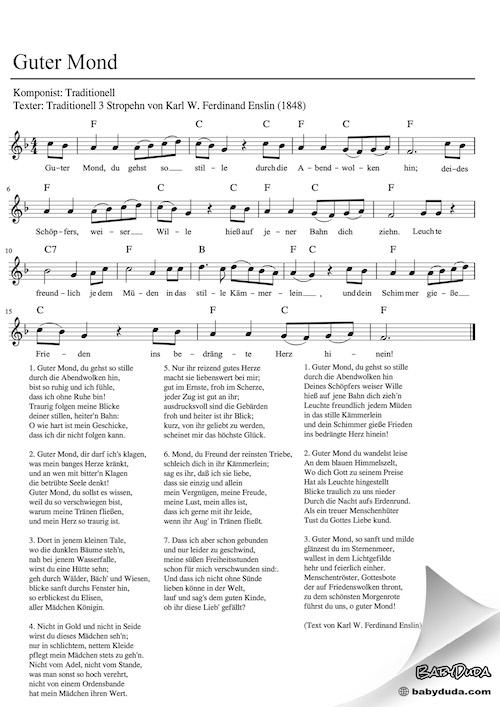 Schlaflied - Guter Mond - 7 Strophen