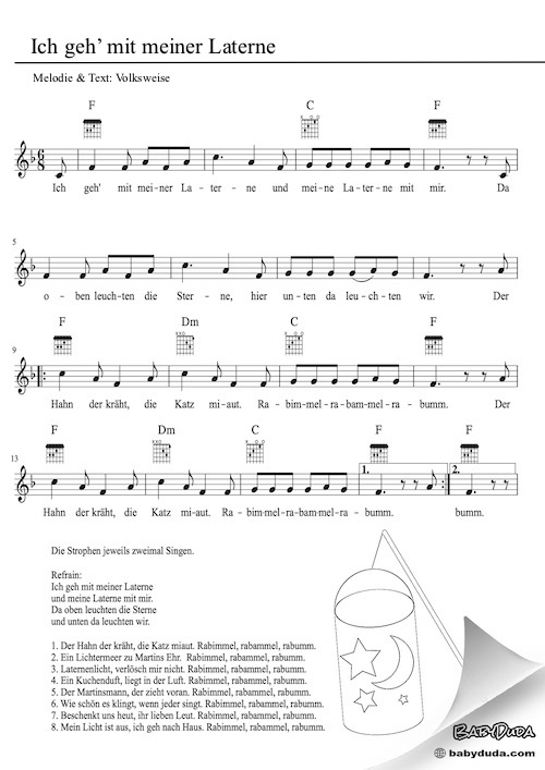 Kinderlied - Ich geh mit meiner Laterne - Kostenlose Kinderlider Noten, Text, MP3