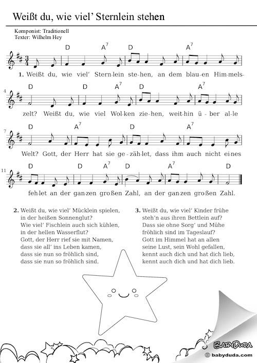 Kinderlied - Weisst du wie viel Sternlein stehen